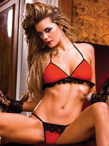 Baci Set Bikini Rosu-Negru cu Volanase 464 thumbnail