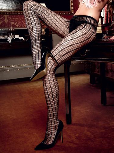Baci Ciorapi Negri din Plasa cu Model Delicat 1095 thumbnail
